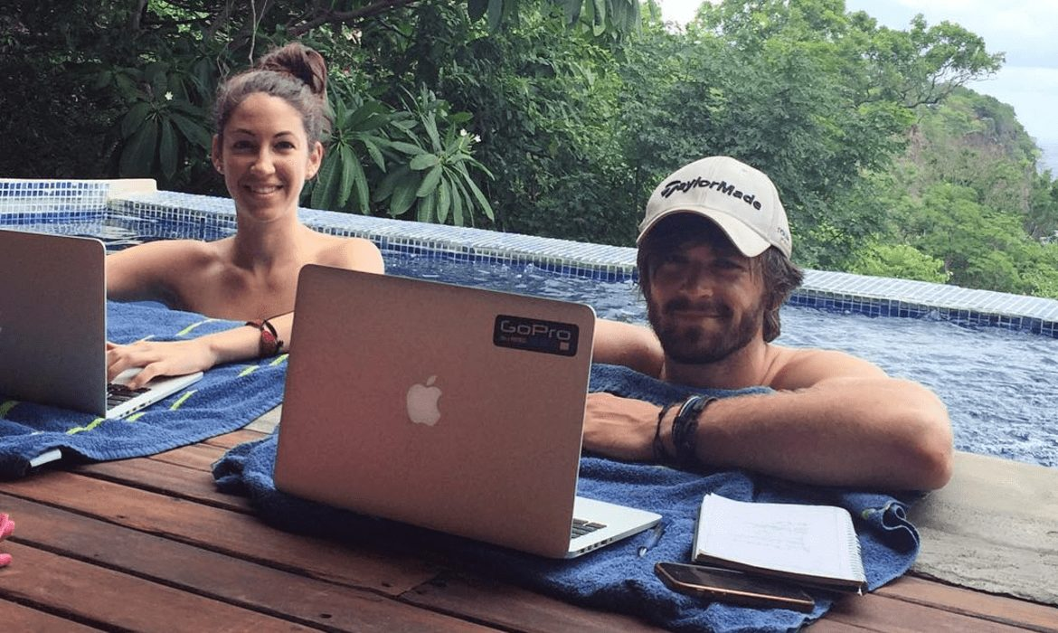 working by the pool in nicaragua
