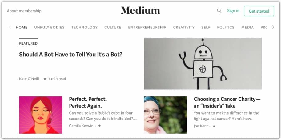 medium free blogging platform