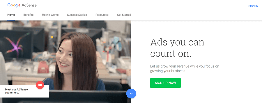 get started with google adsense
