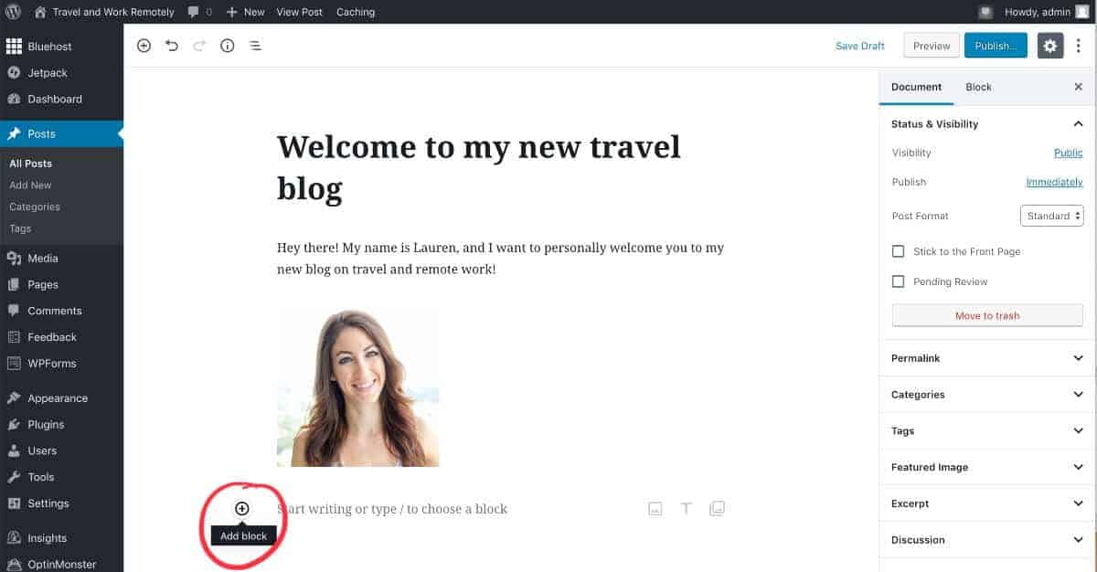 add new text to WordPress