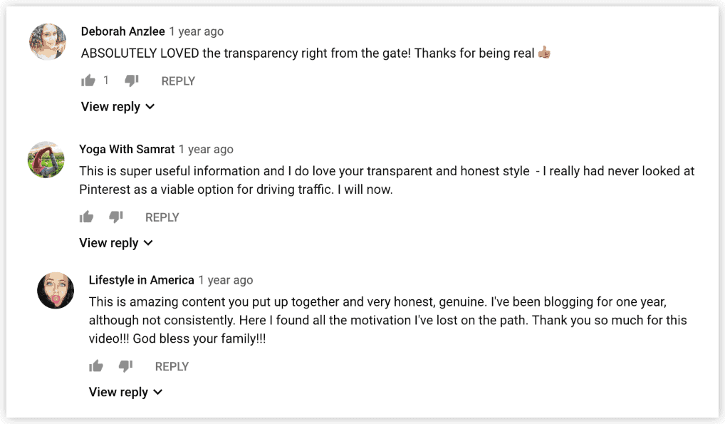 transparency in youtube comments