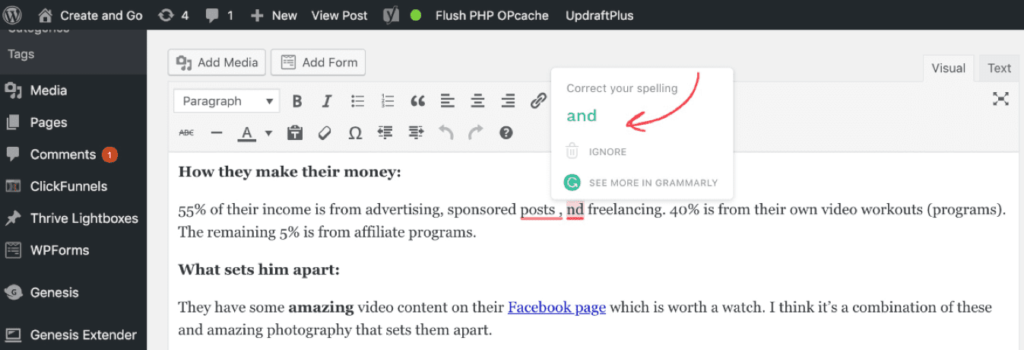 Grammarly blog correction tool