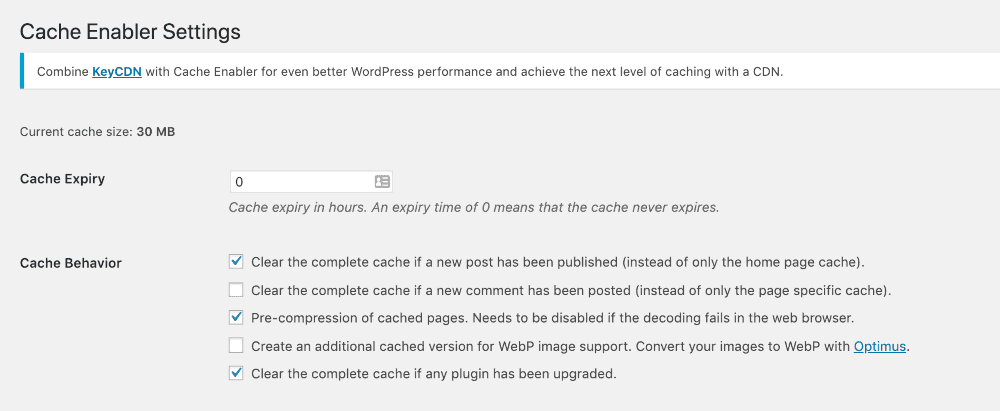 cache plugin settings