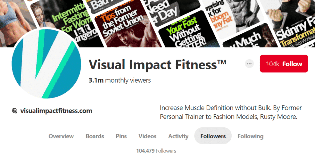 Visual Impact Fitness Pinterest Account
