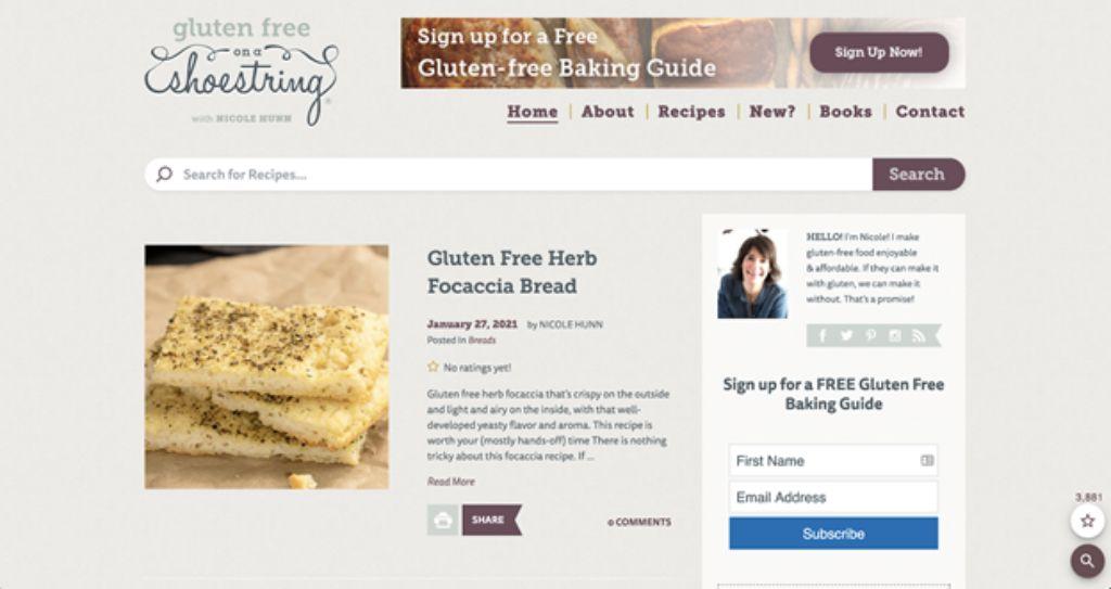 gluten free on a shoestring website screenshot