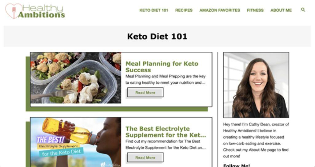 healthy ambitions website screenshot