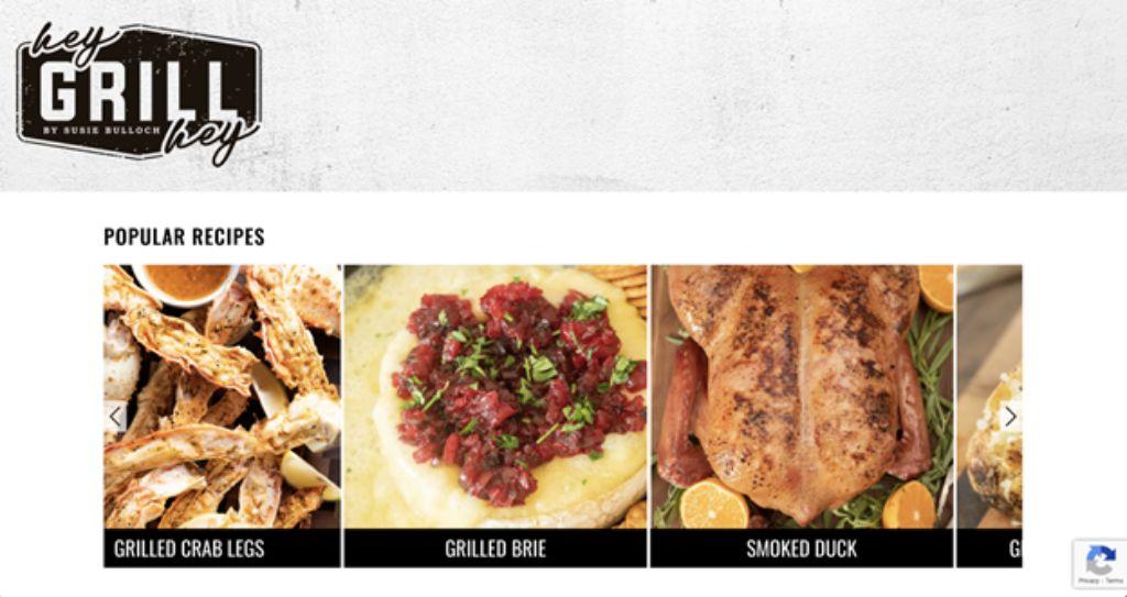 hey grill hey website screenshot popular recipes