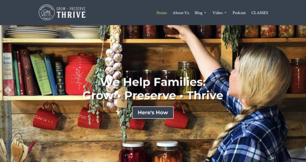 the homesteading family website screenshot