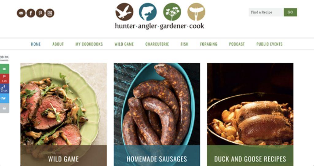 hunter angler gardener cook website screenshot