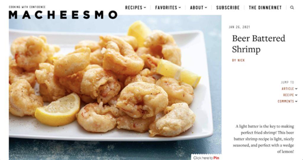 macheesmo website screenshot beer battered shrimp