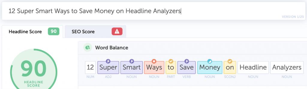 bad headline analyzer example in CoSchedule Headline Studio