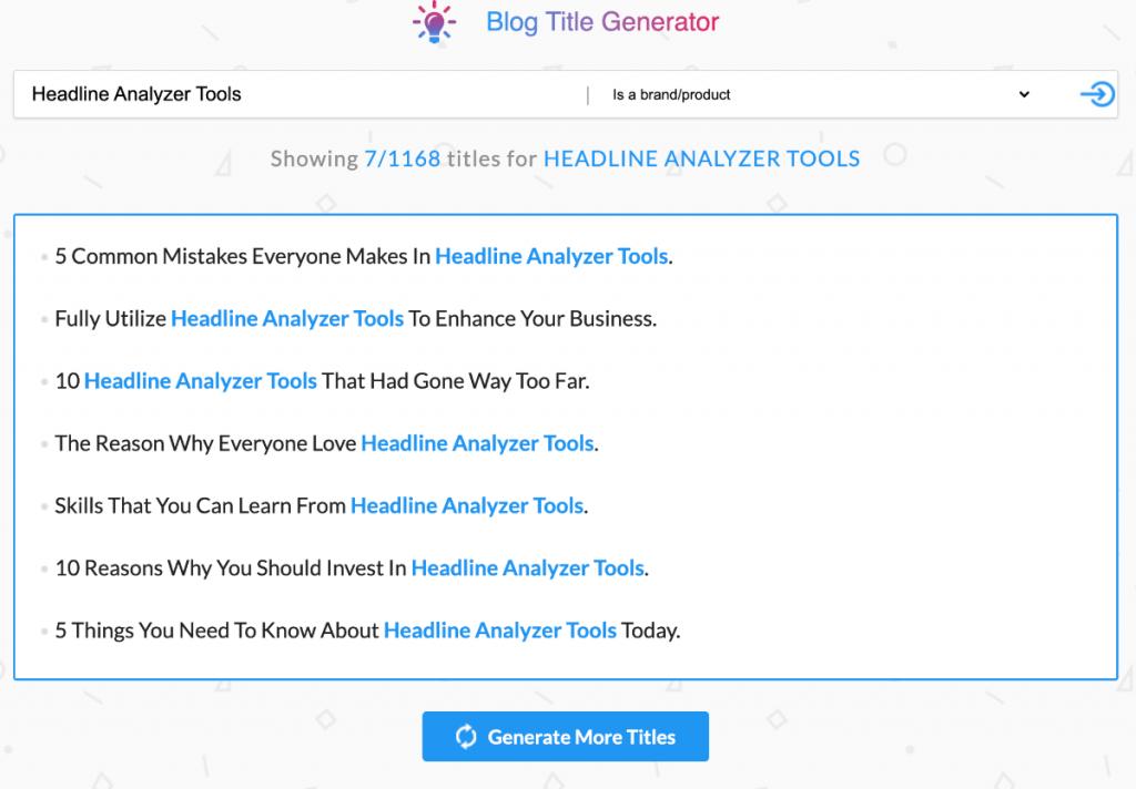 Blog Title Generator tool screenshot