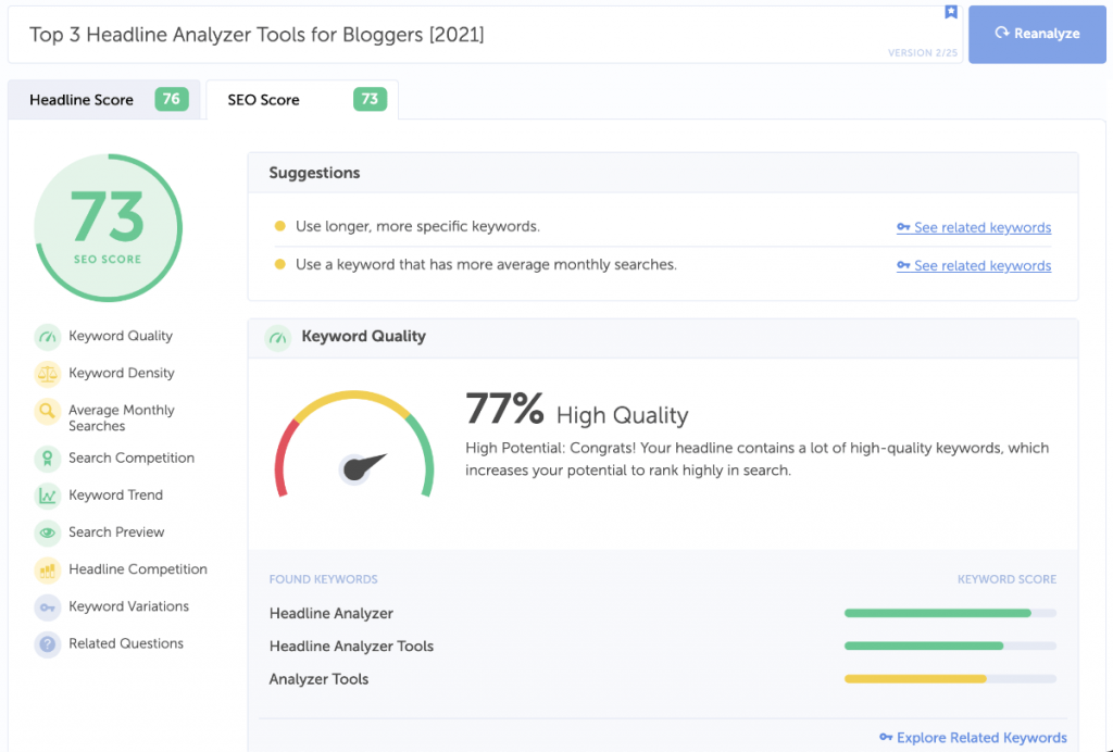 coschedule analyzer tool seo results