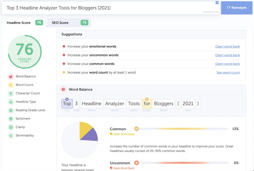 coschedule analyzer tool screenshot