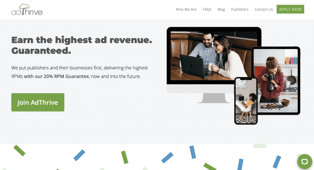 Screenshot of AdThrive home page for publishers