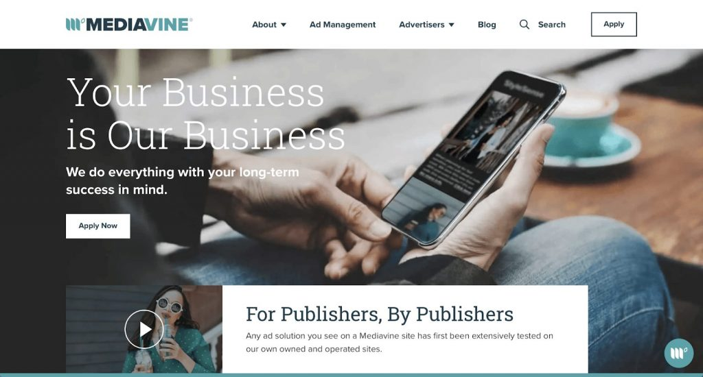 Screenshot of Mediavine home page for publishers