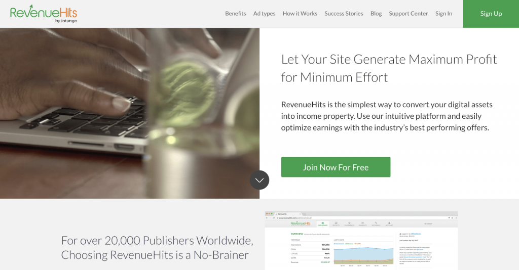 Screenshot of Revenue Hits home page for publishers