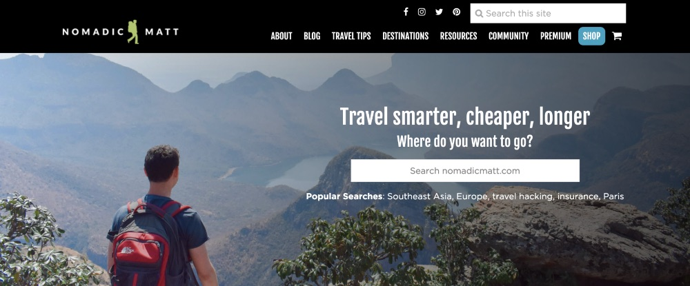 Screenshot of the homepage for Nomadic Matt blog