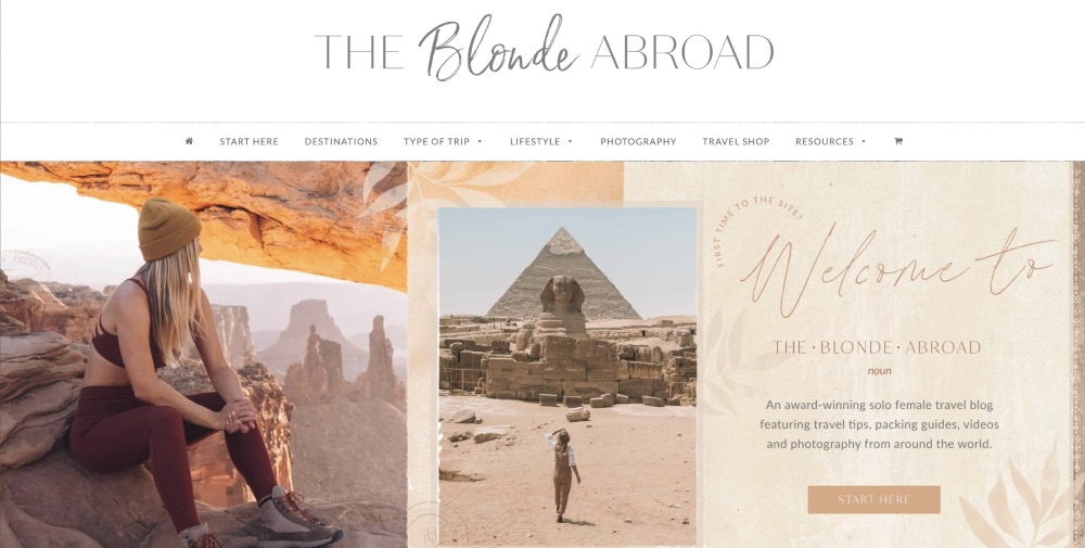 Screenshot of the homepage for The Blonde Abroad blog