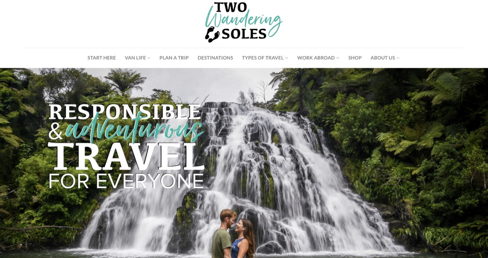 Screenshot of the homepage for Two Wandering Soles blog