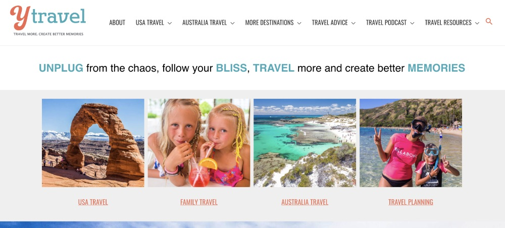 Screenshot of the homepage for Y Travel blog
